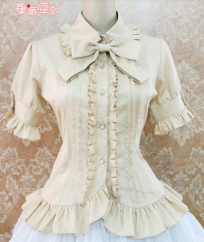 Cotton Short Sleeves Ruffles Bows Lolita Shirt 7 Colors