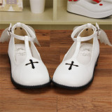 Angelic Imprint- Sweet T-shaped Straps Lolita Flat Shoes with Detachable Angel Wings