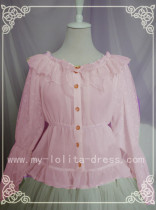 Spring Lyrics Le Printemps Long Sleeves Chiffon Blouse Pink S - IN STOCK