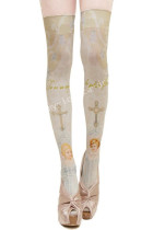 Japanese Church Angel Cross Prints Lolita High Socks - IN STOCK