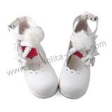 White Hearts Sweet Lolita Girls Shoes