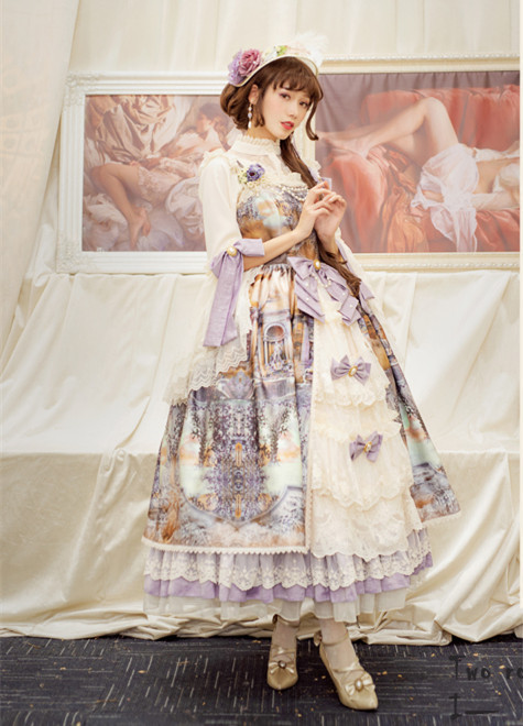The Dawn of Gods Printed Front Opening Lolita JSK -(Custom-tailor Available)