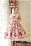 Dear Celine ~ Strawberry Ice Cream~ Sailor Collar Lolita OP -Ready Made Red Size XL - In Stock