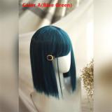 Sweet Blue Green Bobo 33CM Short Wigs