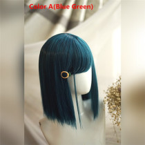 Sweet Blue Green Bobo 33CM Short Wigs