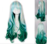 Silvery Blue Green Long Curls Lolita Wig off