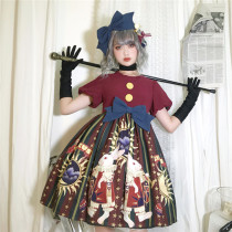Circus Rabbit Printed Lolita OP + Hairclip Wine SIze M - In Stock