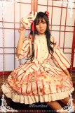Hyakki Yakō  Nine-tailed Fox***  Gothic Lolita Printed Haori + Skirt White&Red Haori In Stock