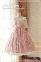 Dear Celine ~Sakura Rabbit~ Slight High Waist Lolita JSK Dailywear Version -Ready Made