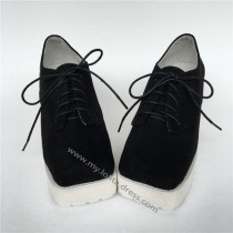 Black Velvet Lolita Shoes with White Soles