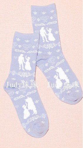 Short Blue Printed Socks with Princess Image