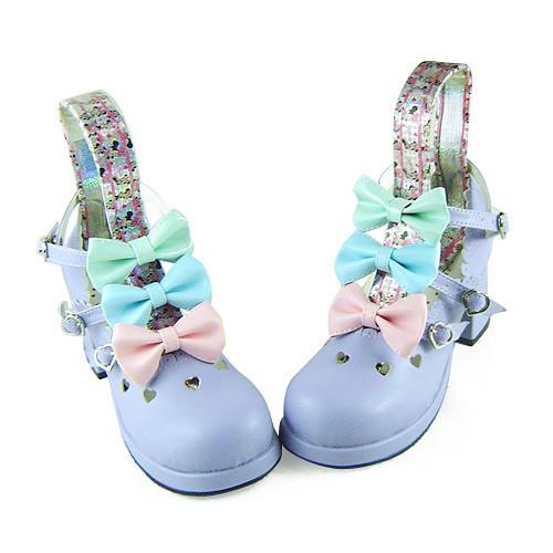 Three Colors Bows Lolita Heels Shoes