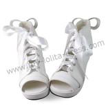 White Sash Bow Lolita Sandals
