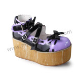 Glossy Purple White Wood Color Sole Lolita Shoes