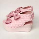 Beautiful Pink Roses Bows Lolita Sandals