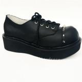 High Platform Black Real Leather Rivets Punk Lolita Shoes