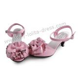 Matte Pink Flower Bow Girls Sweet Sandals