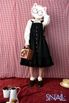 Hey, Big Cow~ Sweet Surface Layer Dress/ Pinafore Black Long Version In Stock