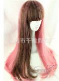 Sweet Smoky Pink&Brown Blended Lolita Wig with Bangs 70cm Long