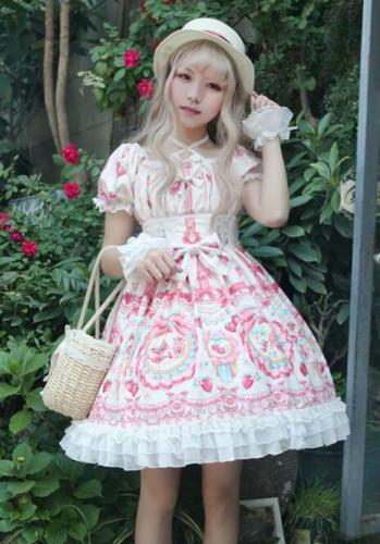 Strawberry Bunny~ Lolita Printed Short Sleeves OP Dress