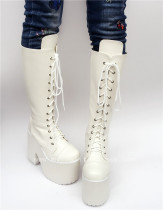 Beautiful White Matte Lace-up Knee Lolita High Boots
