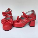 Beautiful Claret Matte Bows Lolita Shoes