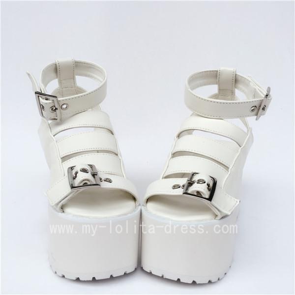 Beautiful High Platform White Matte Lolita Sandals