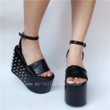 Black Matte Single Belt Rivets Lolita Sandals