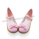 Pretty Bow Flower Flat Heel Lolita Shoes