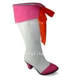 Beautiful White and Pink Booots with Knots