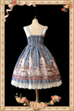 Infanta The Royal Rabbit Tea Party~ Sweet Lolita Printed JSK+Headbow