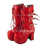 Beautiful Sweet Red One Piece Perona Boots