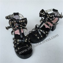 Black Glossy Straps Bows Lolita Square Heels Shoes
