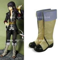 Beige Black Flip Shaft Japanese Anime Boots