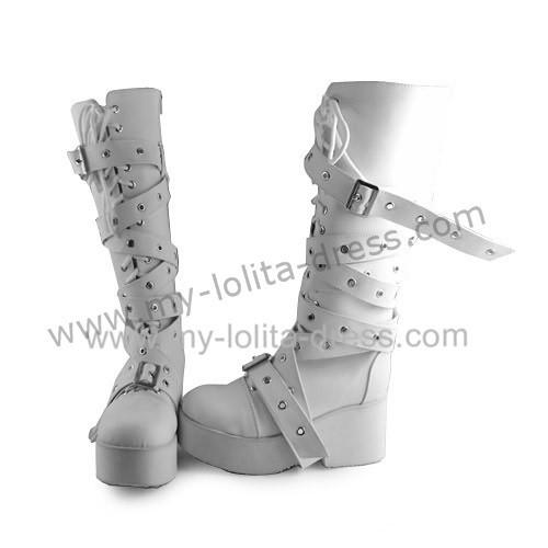 Punk Style Matte White Buckles Lolita High Shaft Boots