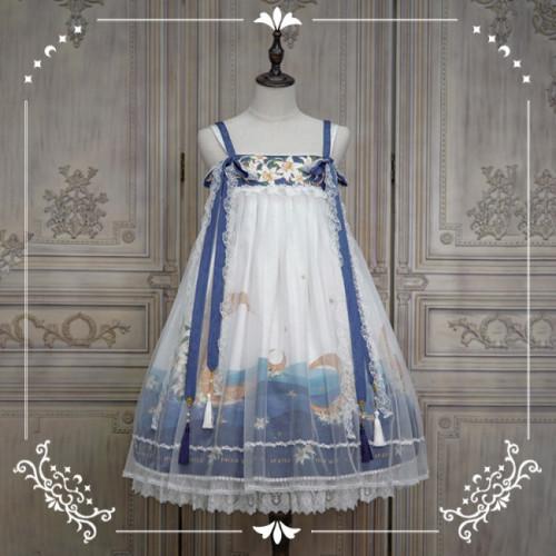 NyaNya Lolita Boutique ~Over the Sea the Moon Shines Bright Qi Lolita JSK -Ready Made