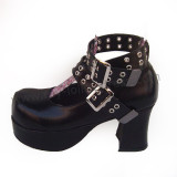 Black Double Straps Heels Lolita Shoes
