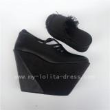 Beautiful Black Velvet Wedge Shoes