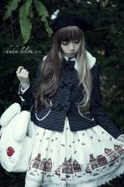 Black White Dots Bows Lolita Short Winter Coat