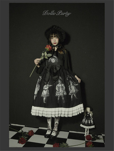 Antique Paper Doll~ Black Lolita JSK Dress -Ready Made