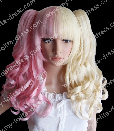 Pink Blonde Gothic Divided Removable Ponytails Wig blonde&light pink - In Stock