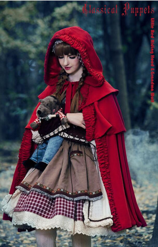 Little Red Riding Hood & Grandma Wolf~ Lolita Fullset (OP + Scarf + Apron+Cape+Headbow) -Limited Quantity Pre-order