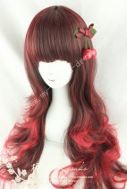 60cm Black Red Curls Lolita Wig