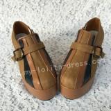 Sweet Aplique Brown Black Lolita Heels High Platform