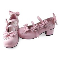 Pink Four Bows Lolita Shoes