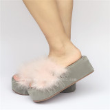 Sweet Matte Cream-colored Lolita Sandals with furs