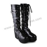Punk Style Matte White Buckles Lolita High Shaft Boots