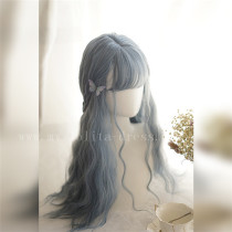 Sweet Big Wavy Daily Curls Gray Blue Lolita Wig 60cm