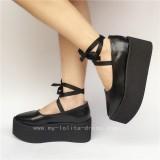 High Platfrom Black Lolita Cowhide Shoes