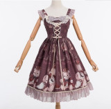 The Crown Bear~ Sweet Lolita Printed Jumper/Salopette